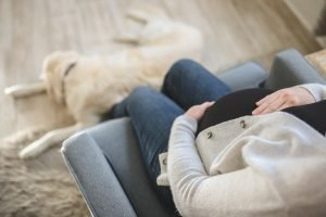 Prenatal Care Adoption Blog Image: A closeup of a pregnant woman holding her belly. A golden retriever lays at her feet.